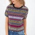 Mujeres totem vintage estriado Recortada camiseta Retro Tribal de manga corta camisa corta camisa casual Blusas Femininas tops Europeos DT72