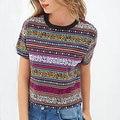 Mulheres do vintage totem stried Cropped T camisa Retro Tribal colheita de manga curta camisa casual Blusas Femininas topos Europeus DT72