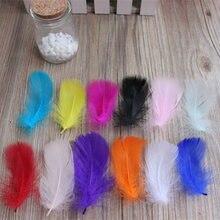 Hermosa pluma de ganso tenido DIY dia De Navidad decorar 50 raiz la venta 4-6 cm 2-4 pulgadas