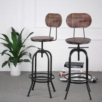 Промышленный стильный барный стул морден регулируемый по высоте вращающийся кухонный обеденный стул Pinewood Топ металлический со спинкой бар