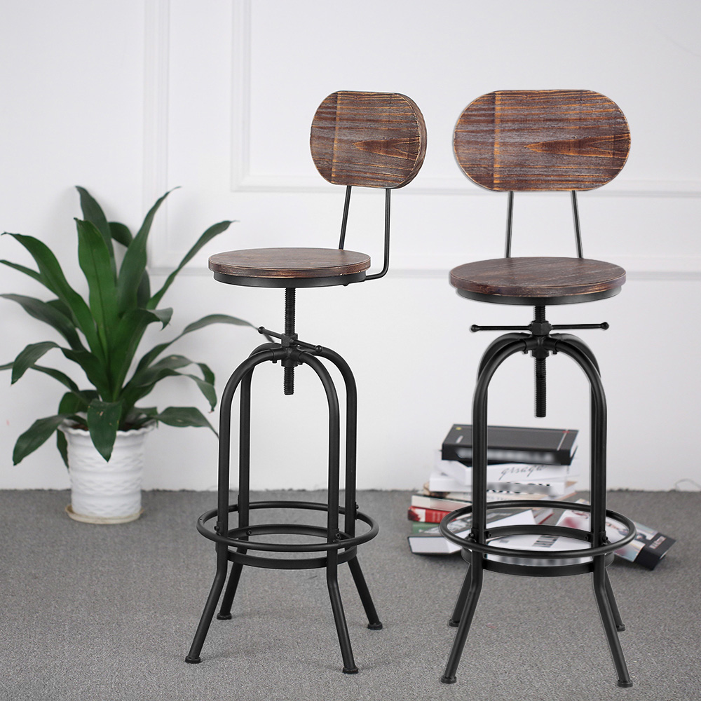 Industrial Style Bar Stool Morden Height Adjustable Swivel Kitchen Dining Chair Pinewood Top Metal With Backrest Bar Stools