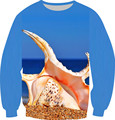 2016 Spring Men Sweatshirt Blue Sky Color Hoodies Seaside Shell Print Crewneck Tops Long Sleeve Fleece Inside Pullover Clothes