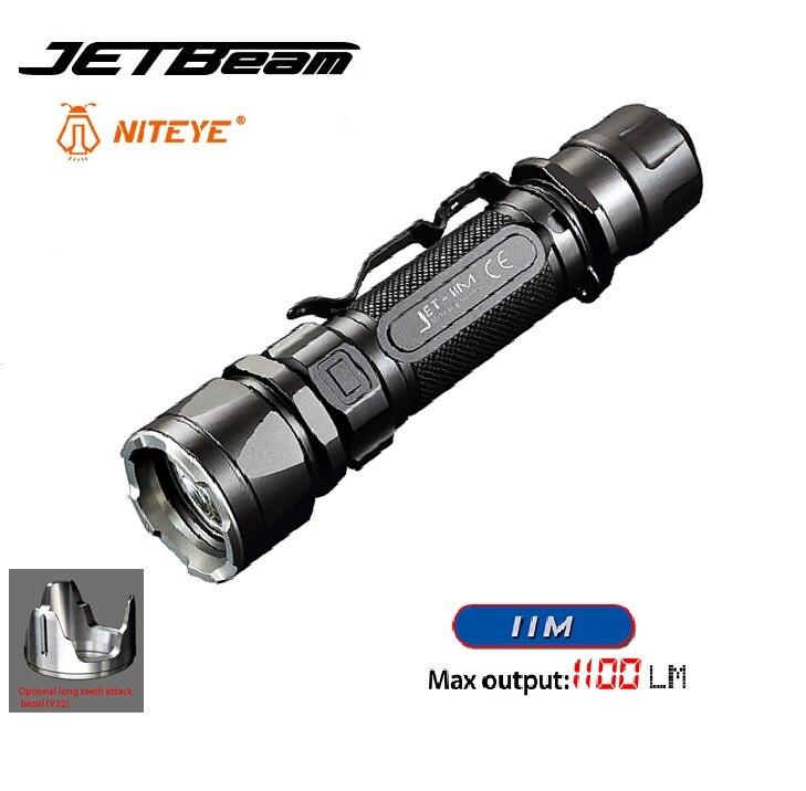 2016 New JETBeam IIM Cree XP-L HI 1100 Lumen Led Flashlight for Outdoor Activities by 18650 Battery Niteye Tactical Flashlight 2017 liitokala 2pcs new protected for panasonic 18650 3400mah battery ncr18650b with original new pcb 3 7v