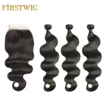 FirstWig Brazilian Virgin Human Hair 3/4 Bundles with Closure Unprocessed Beautiful Body Wave Hair Extension Free Shipping(China)