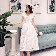 YiLin קיי 2020 מותאם אישית high end תעשייה כבדה חלול החוצה מים מסיס תחרה שמלת V NeckEmbroidered לבן מסיבת שמלות