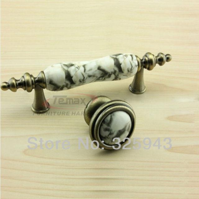 75mm European Marble Bronze Ceramic Knobs And Pulls Dresser Drawer ...