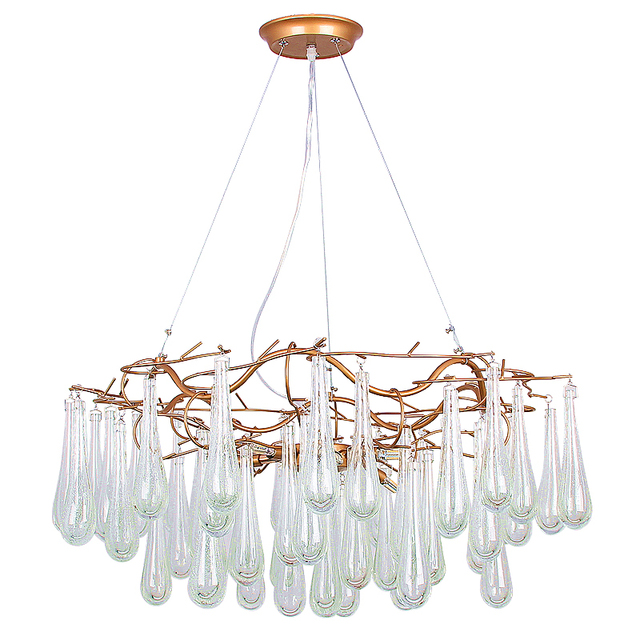 Post Modern creative Chandelie light hand made glass Cracked lampshade  G9 5W LED lamp droplight Living room shop Cafe