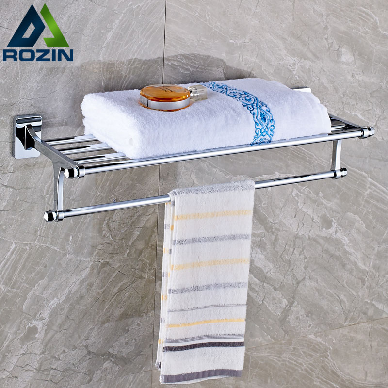 Modern Design Chrome Brass Towel Shelf Wall Mounted Single Bath Towel Rack Towel Bar luxury brass crystal bath towel bar wall mounted towel shelf double towel shelf rod antique brass black color