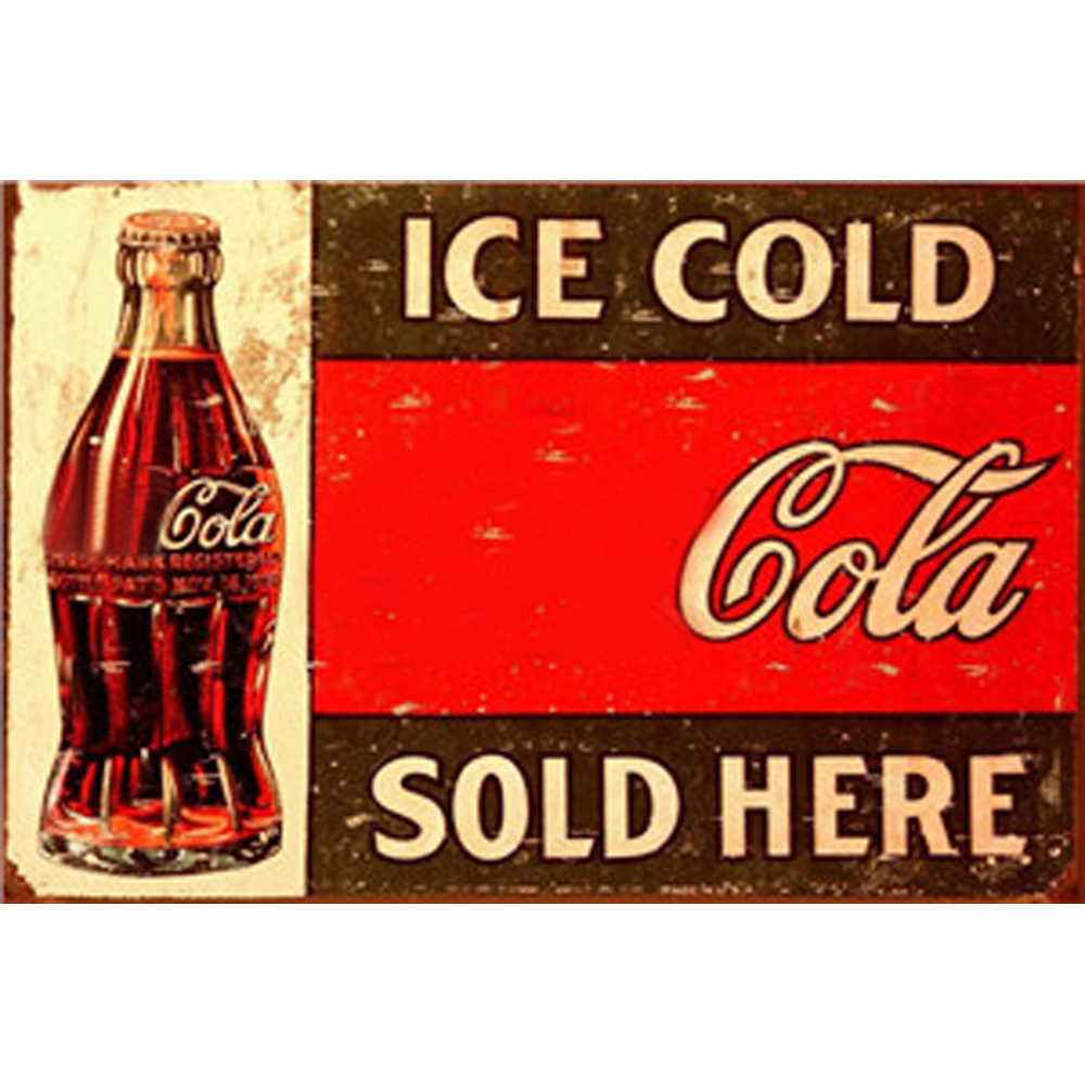 Cola Vintage Metal Plate Tin Signs Wall Poster Decals Plate Painting Bar Club Pub Home Decor Wall 30 20cm in Plaques Signs from Home Garden