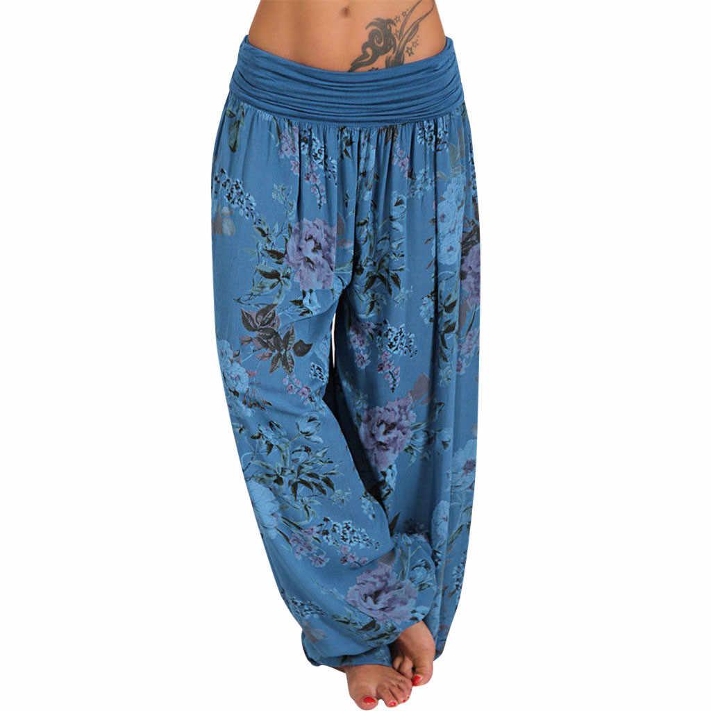 Feitong Wanita Bohemian Celana Panjang Wanita Pinggang Rendah Floral Dicetak Celana Harem Longgar Pinggang Elastis Kaki Celana Celana Celana 5XL