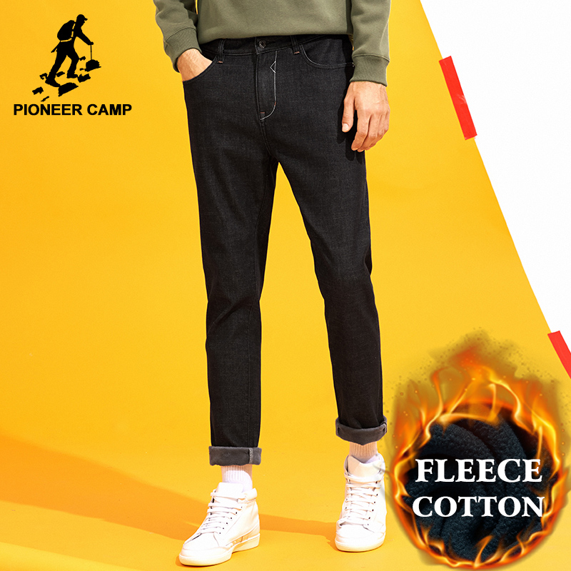 Pioneer Camp winter fleece warm jeans men brand clothing heavyweight solid black thick denim pants male stretch ANZ710005