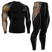2016 Gold skulls Print men running suits Yoga Sets Sports  Fitness Clothes Set For men spandex Workout Clothing Two-piece Suit