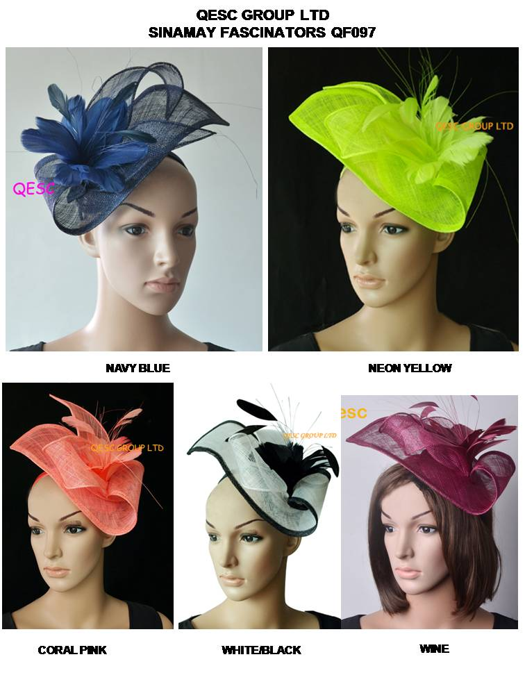 Wholesale ARRIVAL Sinamay fascinator hat with feather flower for kentucky derby wedding navy plum neon yellow