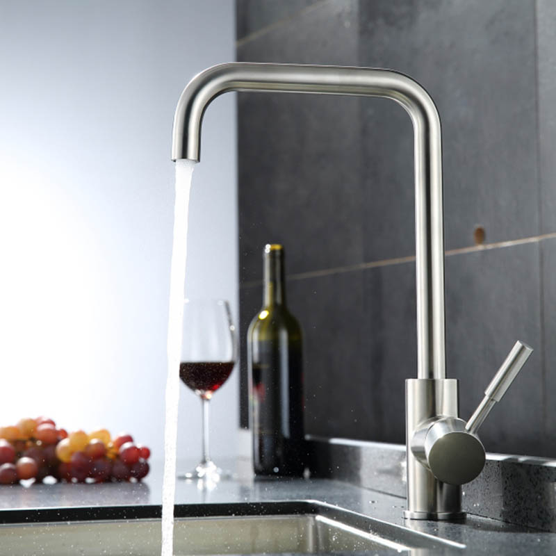 Kitchen Sink Faucet All Stailnless Steel Material Single Handle Deck Mount Nickel Brush Hot And Cold