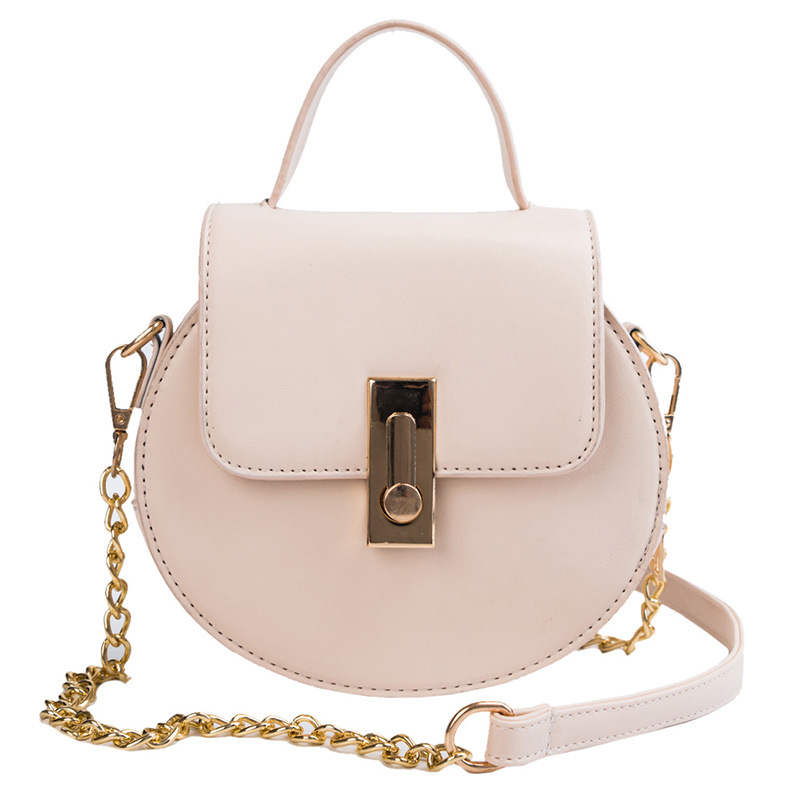 2019 New Small Round Bag Female Wild Lock Single Shoulder Messenger Bag Solid Color PU Leather Large Capacity Chain Handbag