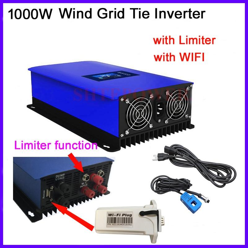 1000W MPPT 1KW Wind power inverter 3 phase ac 22-65V eingang inverter LCD display wifi stecker & limiter sensor Grid tie system
