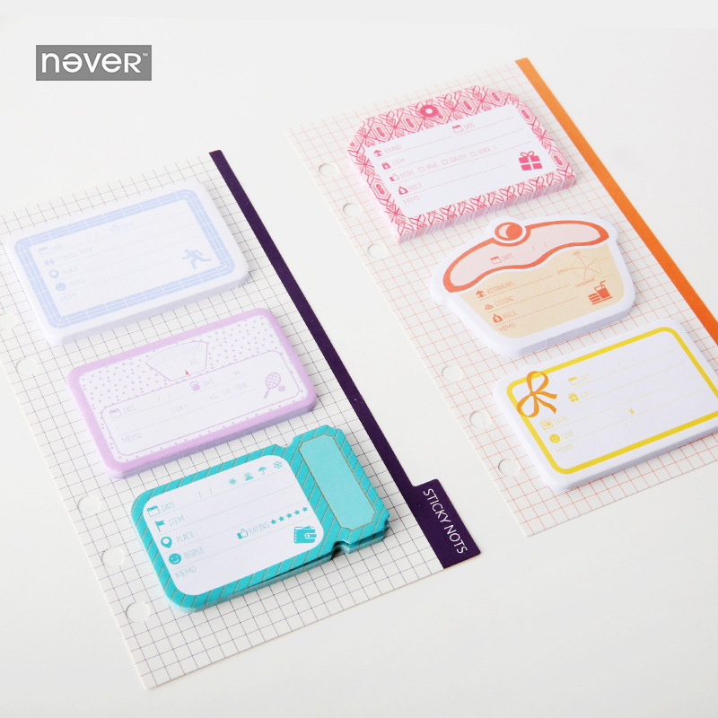 NEVER Color memo pad sticky notes planner accessories diary post sticker korean Kawaii stationery office and school supplies 200 sheets 2 boxes 2 sets vintage kraft paper cards notes filofax memo pads office supplies school office stationery papelaria