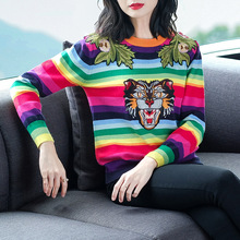 Tiger head embroidery striped elastic knit sweater 2018 new women autumn winter pullovers sweater