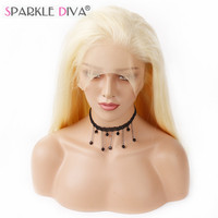 Sparkle Diva Brazilian #613 Blonde 100% Remy Human Hair Wig 130% Density Full Swiss Lace Wig With Natural Hairline And Baby Hair