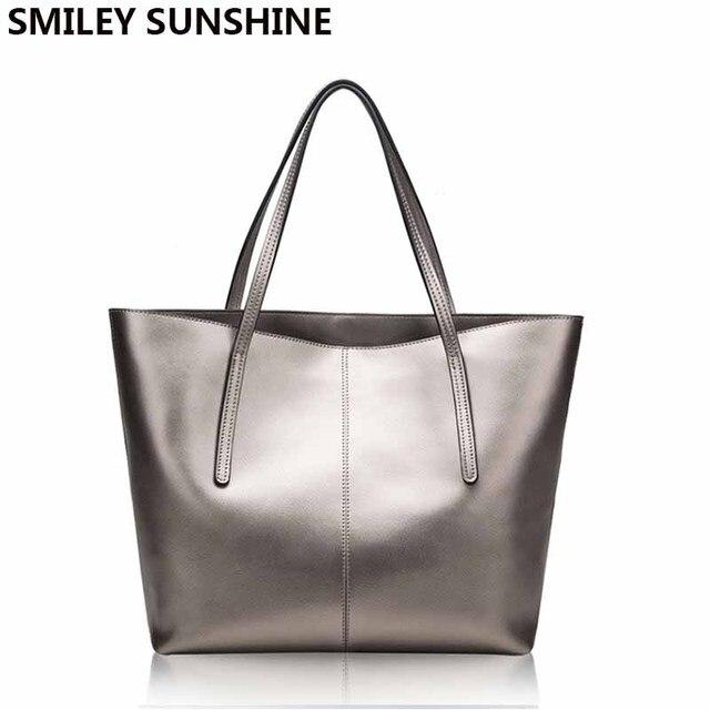 f3b696f1104f Серебряная натуральная кожа женская сумка 2018 большая сумка модная верхняя  ручка женские сумки сумка большая роскошная