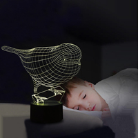 Lovely 3D Illusion Robin Birds Shape Night Lights LED Lamp With USB Power 7 Colors LED