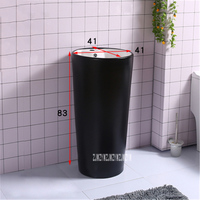 XRH468 Creative Integral Floor Basin Household Bathroom Hotel Ceramic Wash Basin Modern Simplicity Vertical Black Wash Basin 9L