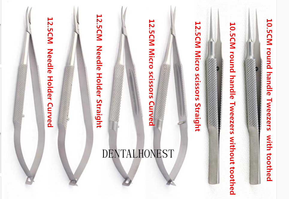 NEW 6pcs set ophthalmic microsurgical instruments 12 5cm scissors Needle holders tweezers stainless steel surgical tool