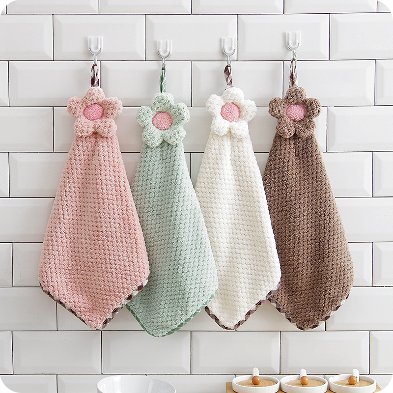 US $7.1 15% OFF|2pcs Sunflower Hanging Hand Towel Cartoon Bathroom Kitchen  Towel Coral Velvet Absorbent Cloth Dishcloths Kitchen Accessories-in ...