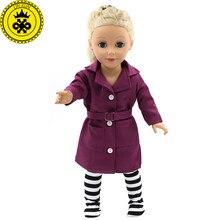 5df381a20842051 18 дюймов девочка кукла одежда синий и глубокий фиолетовый пальто + носки  наборы Кукла Одежда 18 дюймовое Кукольное платье девуш.
