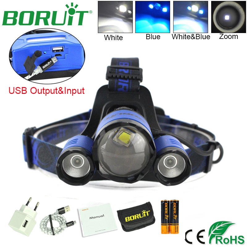 BORUiT XM-L2 LED Headlamp Flashlight Zoomable 4-Mode USB Rechargeable Headlight Hunting Night Fishing Light Head Torch Lanterna cree xml l2 led zoomable headlamp red green blue fishing 4 mode head lamp light torch hunting headlight 18650 battey usb charger