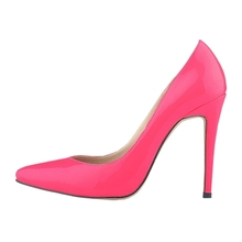 LOSLANDIFEN Classic Women Pointed Toe Red Bottom High Heels Sexy Leather shoes for women Pumps Rose Red 41
