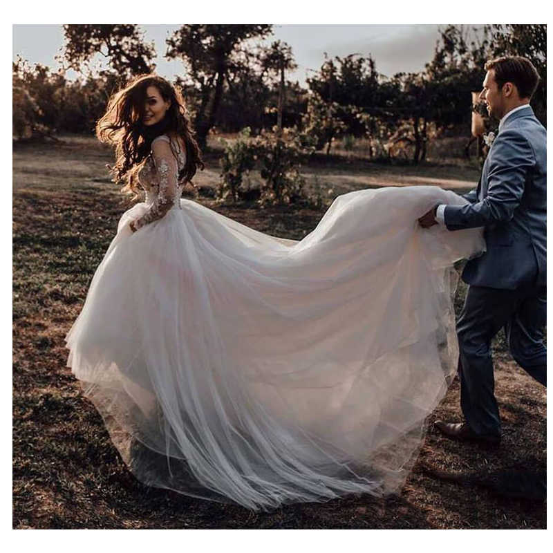 LORIE Long Sleeves Boho Wedding Dress 2019 Puff Tulle Appliques Lace A Line Tulle Vintage Bride Dresses Wedding Gown
