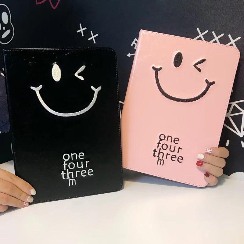 maosenguoji embroidery Winking smiley face Tablet Case For Ipad mini 1 2 3 4 Smart wake up/sleep Function Folding Bracket cover