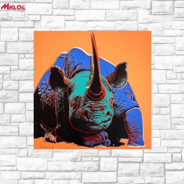 Grosse Kunst Schwarz Rhino Olgemalde Wandkunst Bild Paiting Leinwand