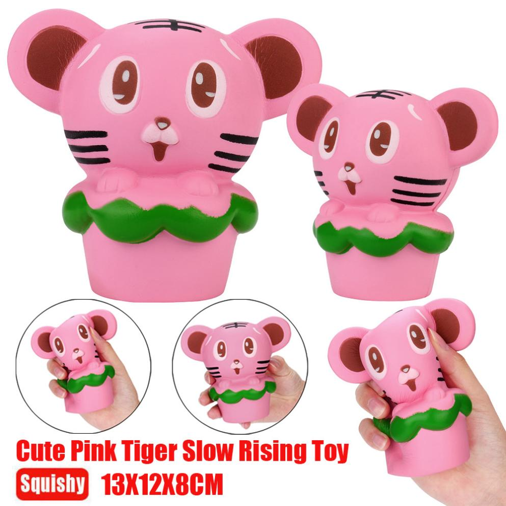 ISHOWTIENDA Decompression Toys Squishy Tiger Hamburgers Phone Straps Slow Rising Bun Charms Gifts Toys anti stress @15