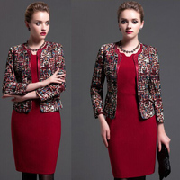 Plus Size 4XL Women Office Dresses Suits 2016 Winter Ladies Brand Print Blazer With Sexy Red