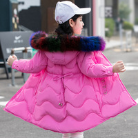 30 Children Winter Jacket For Girl Thick Down Parkas Coat Kids Warm Rainbow Fur Collar Hooded Long Outerwear For Teenage 4Y 14Y