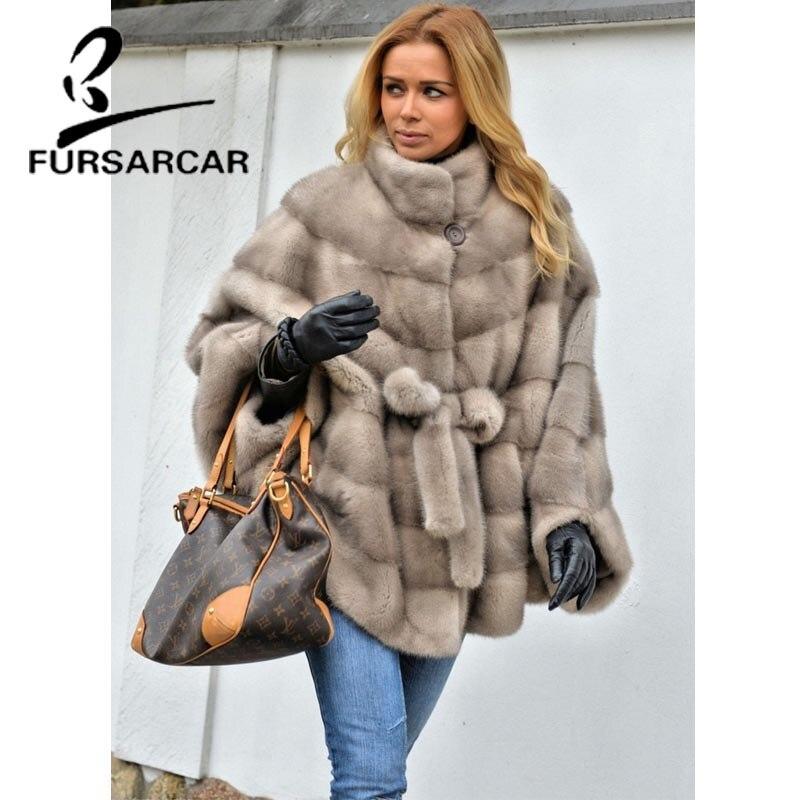 Luxe Chauve La À Complet Femmes Col Naturel Réel Fourrure Vison De Fursarcar Mode Montant souris Manteau Femelle Pelt Avec Manches x6B7ZTnzqw
