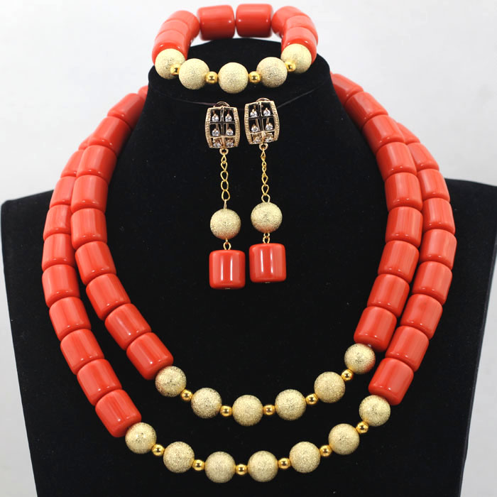 Necklace Jewelry-Set Artificial-Coral-Beads Nigerian Wedding-Bridal/bridesmaid African