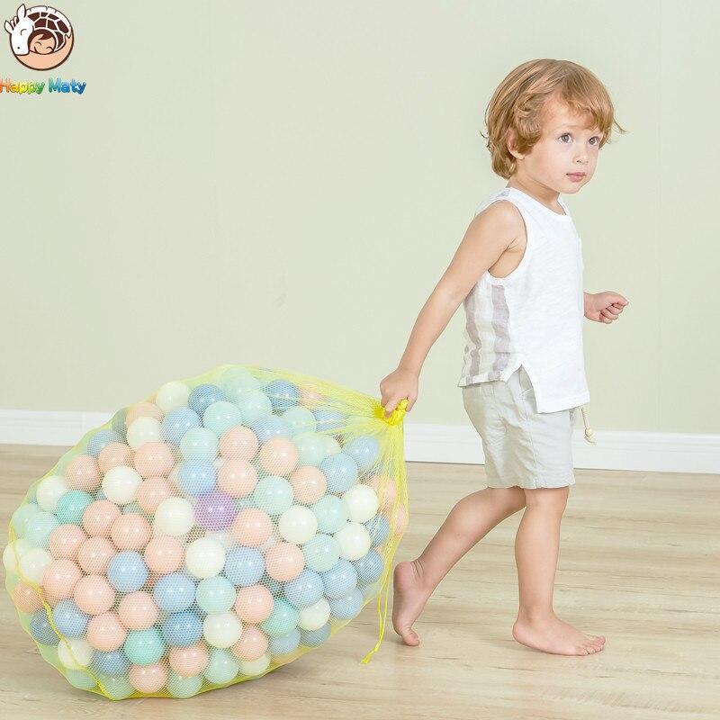 Happymaty 50 piezas mucho respetuoso del medio ambiente Bola de colores de plástico de juguete de bebé chico nadar pozo juguete piscina de agua de ola de océano bola 7cm