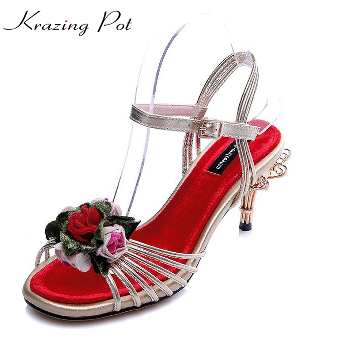 Krazing Pot  genuine leather bird cages thin high heels peep toe flowers ankle straps party women sandals High-end custom L35 premium