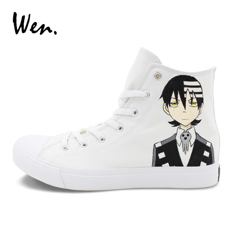 Wen Hand Painted Shoes Design Soul Eater Women Canvas Sneakers High Top Men Athletic Graffiti Skateboarding Shoes boys girls converse all star hand painted shoes women men shoes pokemon go charizard design high top canvas sneakers