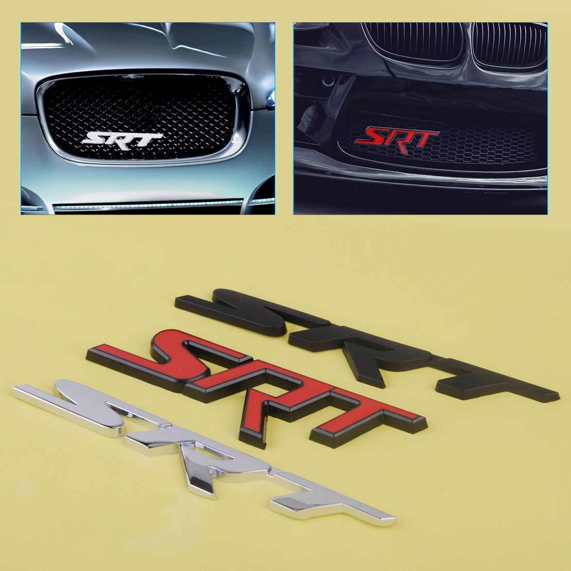 beler 3D Front Grill Grille Metal Badge SRT Letter Emblem fit for Dodge Charger Challenger Ram