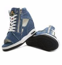 Denim casual shoes woman 2016 spring summer fish toe wedge canvas shoes female leisure sandals zapatillas side zipper