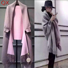 2018 Oversize Double Side Color Stole Winter Faux Cashmere Poncho Women Solid Designer Female Long Sleeves Wrap Vintage Shawl fluffy synthetic lolita curly flax mixed gold long side bang capless cosplay wig for women