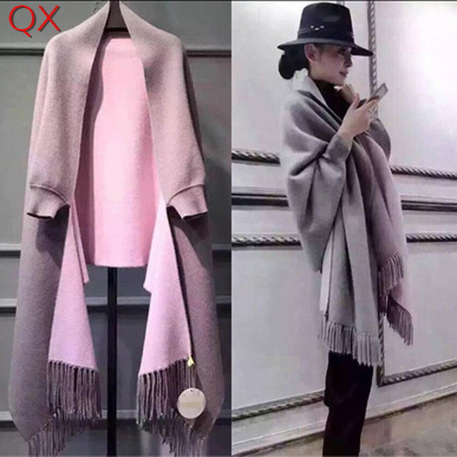 2018 Oversize Double Side Color Stole Winter Faux Cashmere Poncho Women Solid Designer Female Long Sleeves Wrap Vintage Shawl