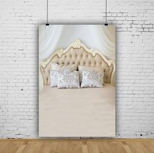 Image 2 - Laeacco Bedboard כריות ראש המיטה דמשק וילון משפחת יילוד צילום רקע צילום תפאורות צילום סטודיו