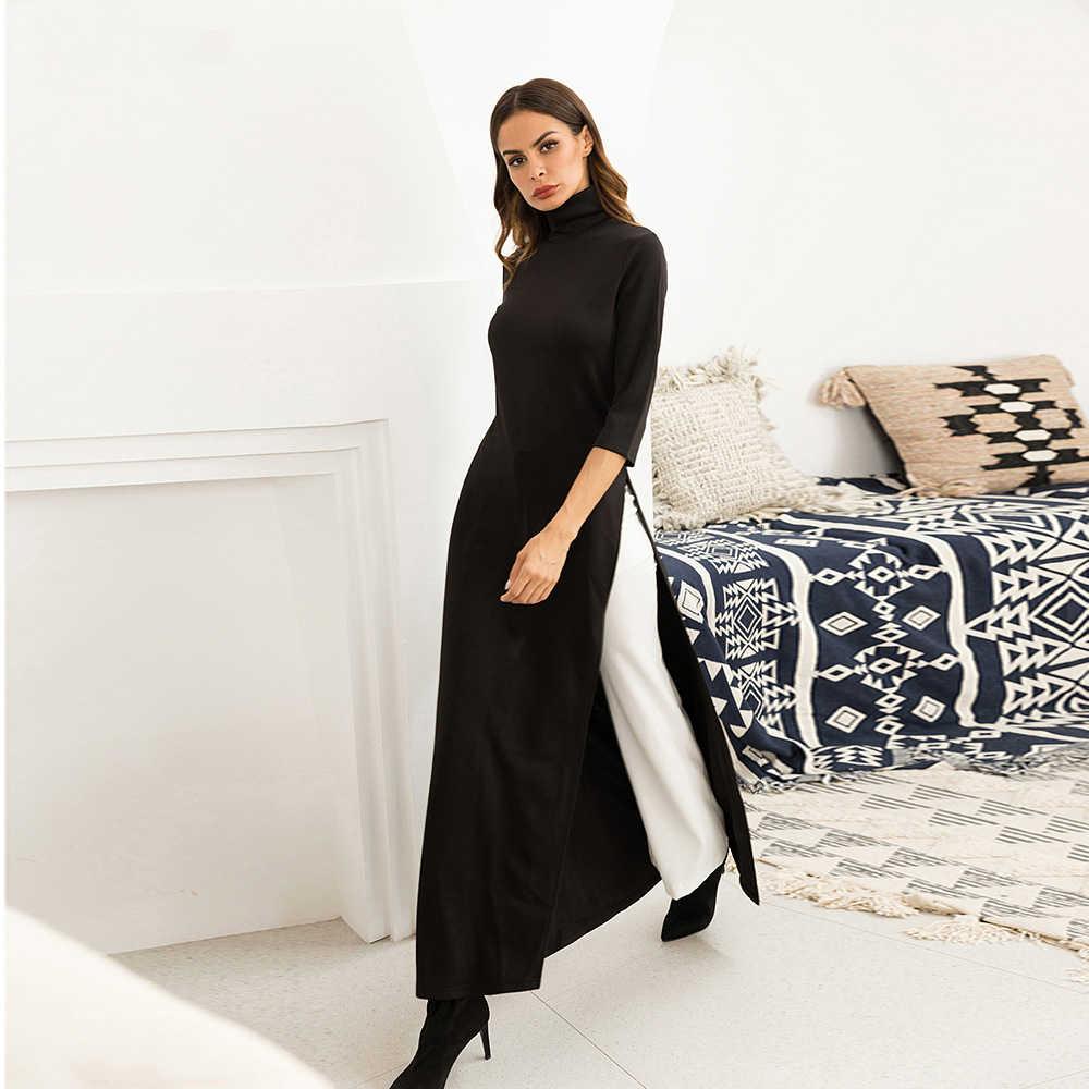 d494b0160 ... Black T Shirt Maxi Dress Women Turtleneck Side Slit High Waist Party Long  Black Bodycon Dresses ...