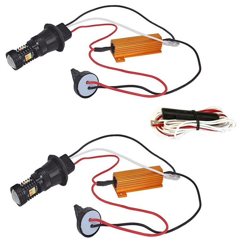 2pcs 1156 BA15S BAU15S PY21W T20 T25 Dual Color White Amber Switchback LED Turn Signal Light Error Free Canbus with Resistor DRL