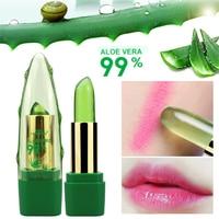 2017 New Batom 99% ALOE VERA Natural Temperature Change Color Jelly Lipstick Long Lasting Moistourizing Lip Makeup